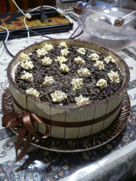 torta wafer e cioccolato bianco tecnica di decorazione