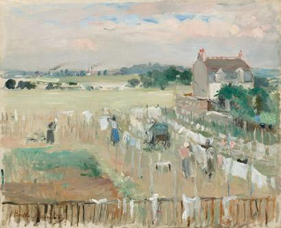Berthe Morisot - Hanging the Laundry out to Dry, 1875 Collection of Mr. and Mrs. Paul Mellon