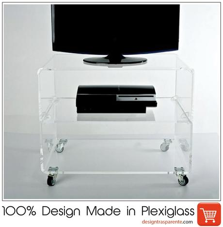 Porta Tv Plexiglass.Pillole In Plexiglass Carrello Porta Tv Design Trasparente