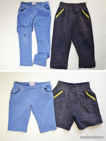 Cut pants with holes in the knee and turn them into shorts! www.cucicucicoo.com