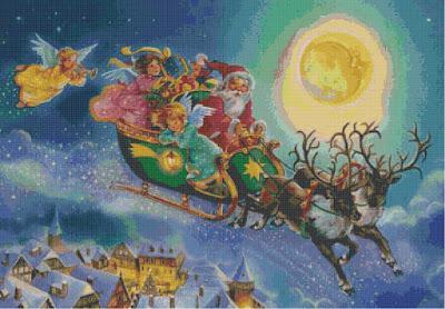 Schema per il punto croce: Babbo Natale sulla slitta_1