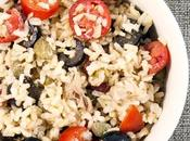 Riso integrale pomodorini, capperi olive Whole wheat rice with cherry tomatoes, capers olives