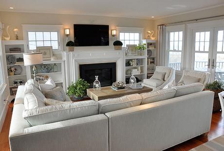surprising beach house living room furniture   Coastal Living–Un favoloso beach cottage nel Massachussets ...