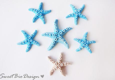Stelle Marine e perle effetto pietra Pomice in fimo - Fimo clay starfish and Pumice beads