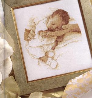 Quadro mamma e bambino a punto croce paperblog for Idee punto croce neonati