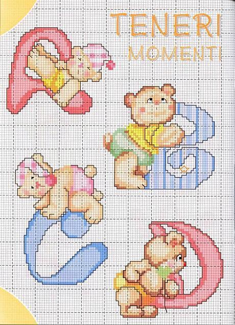 Favorito Alfabeto a punto croce con gli orsetti, schemi / Cross stitch  YH57