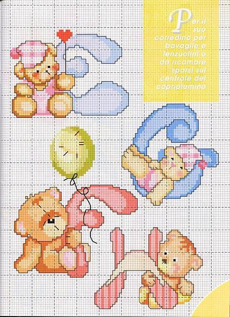 Alfabeto a punto croce con gli orsetti schemi cross for Schemi punto croce alfabeto bambini