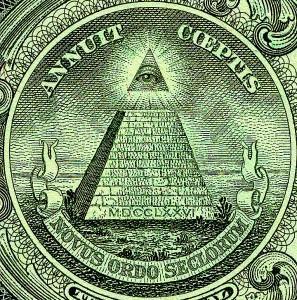 Dettaglio del retro della banconota statunitense da un dollaro: la piramide con l'Occhio della Provvidenza rappresenta, in Deus Ex: Human Revolution, il simbolo del New World Order e degli Illuminati. Pubblico dominio.