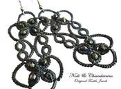 Noir orecchini chiacchierino tatting earrings