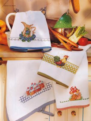 Punto croce strofinacci ricamati paperblog - Strofinacci da cucina ...