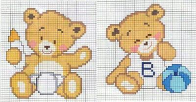 145 disegni punto croce per bambini schemi alfabeti a for Disegni punto croce per bavaglini