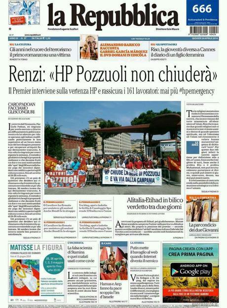 Repubblica, la prima pagina di domani