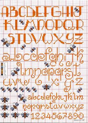 Alfabeti punto croce corsivo maiuscolo e minuscolo paperblog for Alfabeti a punto croce per bambini