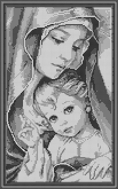Schemi a punto croce religiosi madonnina con bambino for Schemi di cabina di log