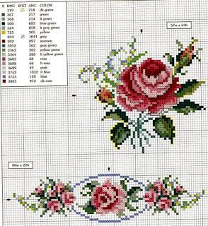Fiori fiori da ricamare a puntocroce rose paperblog - Disegni punto croce per tovaglie da tavola ...