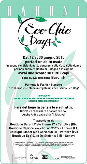 Baroni Eco Chic Days, great idea!