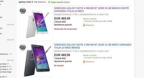 Promozione Samsung Galaxy Note 4 Garanzia Italia a 469 euro galaxy note 4 eBay