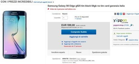 Promozione Samsung Galaxy S6 Edge g925 tim black 64gb no tim card garanzia italia eBay