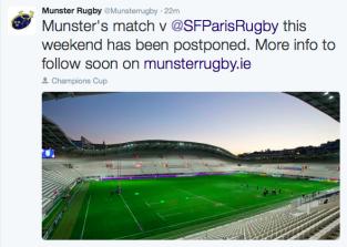 Coppe Europee: Rinviata Stade Français-Munster