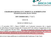 Banca carige sospende pagamento della cedola bond perpetui