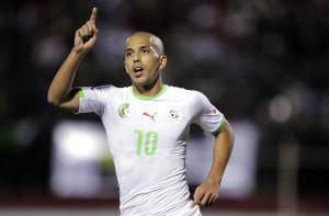 Algeria's Sofiane Feghouli celebrates after scoring a goal against Ethiopia during their African Nations Cup qualifying soccer match at Tchaker Stadium in Blida November  15, 2014. REUTERS/Louafi Larbi (ALGERIA - Tags :SPORT SOCCER) - RTR4EAJY
