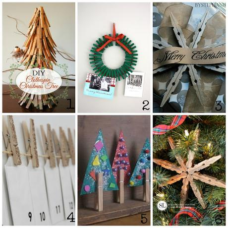 Decorazioni natalizie con le mollette di legno