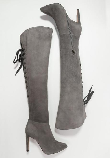 Stivali sopra ginocchio grigi Zalando