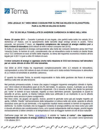 Flavio Cattaneo: Ora Legale meno 646 Milioni di kWh
