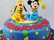 Torta decorata 1°compleanno baby Topolino Pluto Disney pasta zucchero