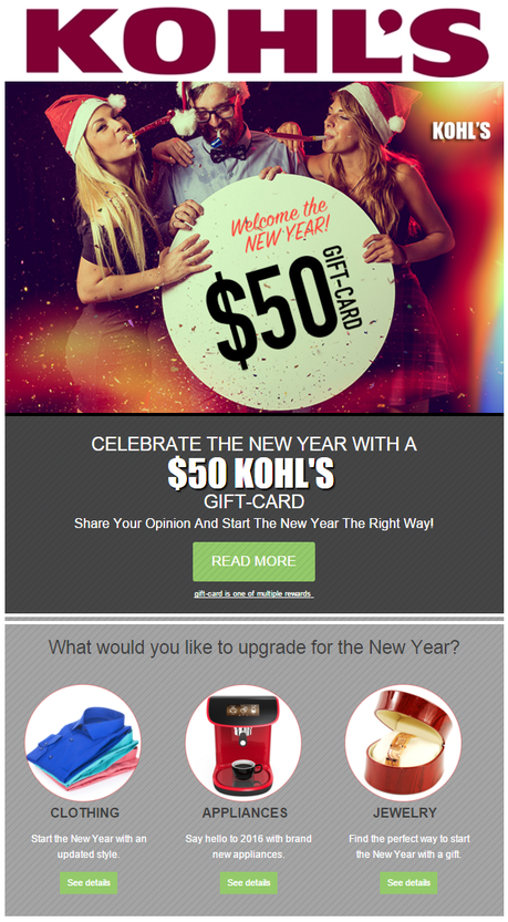 Your Kohl's New Year's customer appreciation reward expires Jan. 18, 2016