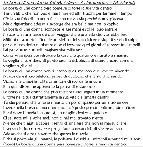"""Noemi A """"la Con Borsa 2016 Donna"""" Canzone Una Da Di Sanremo Scritta gSTBgAqwcF"""
