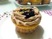 Cupcake mirtilli crema ricotta cioccolato coulis