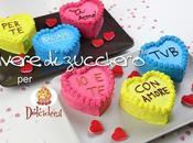 Mini cake coloratissime forma cuore scritte Valentino