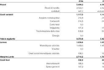 Stima del reddito dell 39 oliveto condotto con la for Stima del costo dell armadio