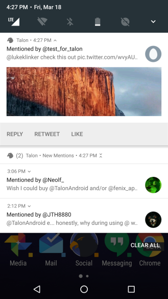 Talon for Twitter notifiche Android N