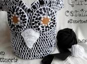 Gufo-cestino crochet, ricavato paio pantaloni