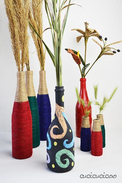 2 vasi fai da te riciclo creativo con bottiglie di vetro for Fai da te creativo