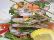 Alternanza carpaccio polpo, spinaci verdurine croccanti