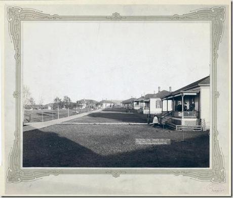 Title: The Officers' Line. Fort Meade, Dak. Homes, lawns and a few military men in residential area. 1889. Repository: Library of Congress Prints and Photographs Division Washington, D.C. 20540