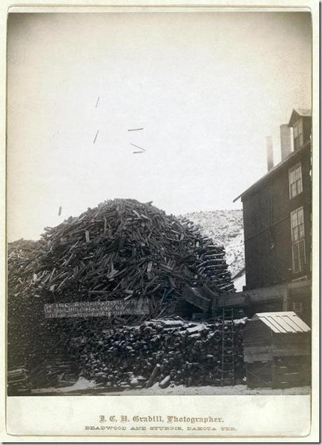 Title: Wood shooting in the air, De Smet Mill, Center City, Dak. Large pile of timber next to a building. 1888. Repository: Library of Congress Prints and Photographs Division Washington, D.C. 20540