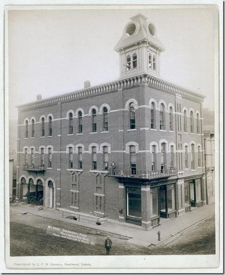 Title: Deadwood's pride. The elegant City Hall Corner three-story building with tower. 1890. Repository: Library of Congress Prints and Photographs Division Washington, D.C. 20540