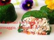 Flan spinaci cuore formaggio, pomodori olive