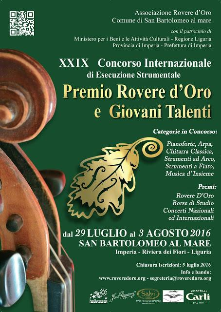 "XXIX International Competition of Music Performance ""Rovere D'Oro"""