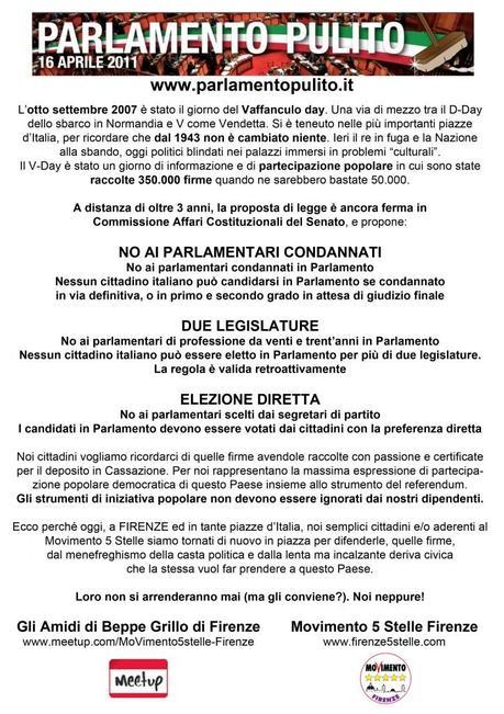 Parlamento pulito day spazziamoli via a firenze stand for Diretta dal parlamento