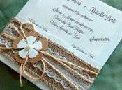 Wedding country partecipazioni matrimonio juta, merletti spago
