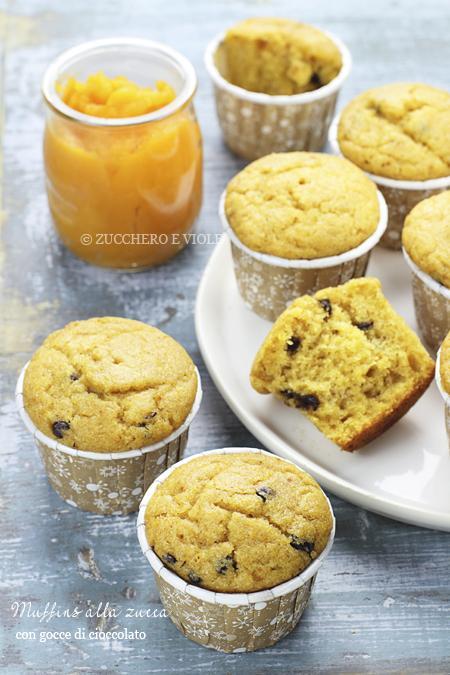Muffins vegan alla zucca e gocce di cioccolato