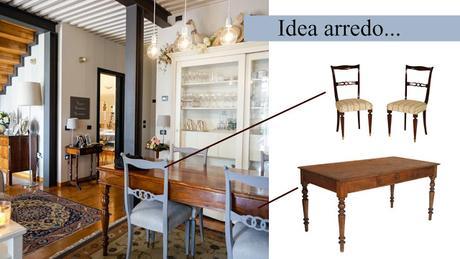 Arredamento antico moderno soggiorno tavolo tornito sedie for Arredamento antico moderno