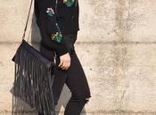 Outfit black sweater skinny jeans come abbinare maglione ricamato oversize