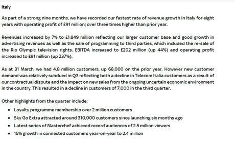 Sky, in Italia abbonati in crescita di 68mila unità (4,8 mln) | Ricavi +7%