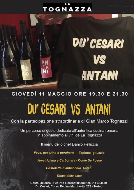 Du' Cesari vs Antani, la Cena. 11 maggio a Torino